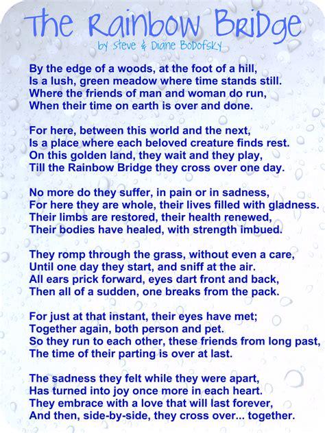 printable version of the rainbow bridge poem the rainbow bridge poem printable version elhouz