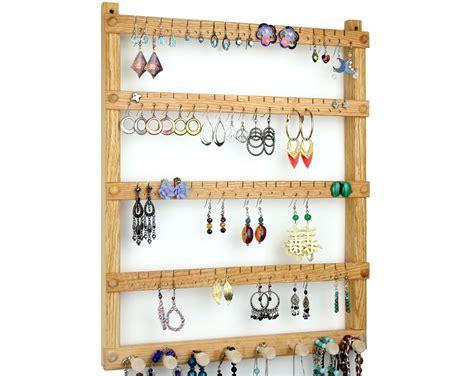 Earring Rack by Oak Wood Wall Mount Earring Holder With By Tomsearringholders