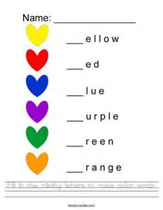 color words fill in the missing letters to make color words worksheet