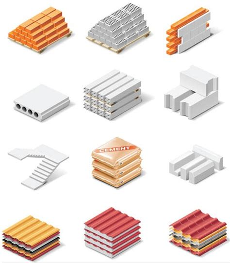Different Materials by Different Building Materials Ai Format Free Vector