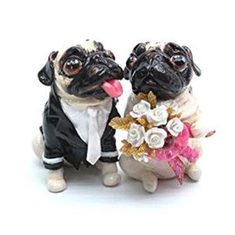 Pug Decorations - pug wedding cake topper p00032 clay sculpted