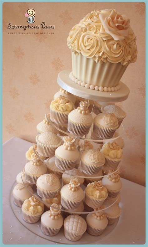 Wedding Cupcake by Vintage Ivory Lace Pearl Wedding Cupcake Tower With