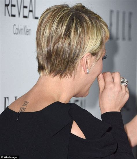 kaley cuoco back tattoo permanent kaley showed the on neck