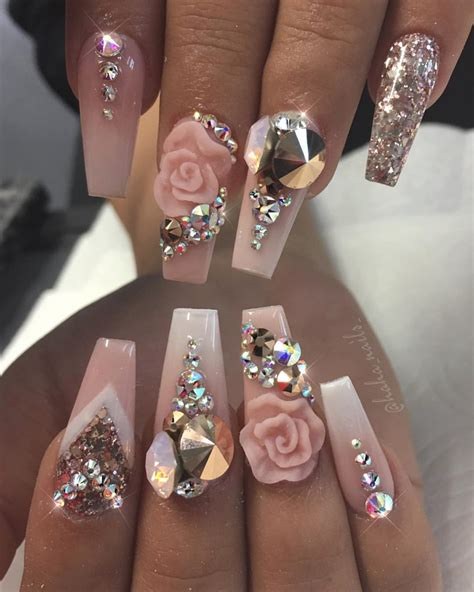 3d Nail by Light Pink Nails With 3d Design And Lots Of Gems