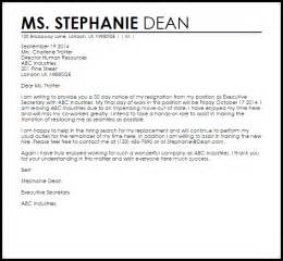 Resignation Letter Template Uk by Resignation Letter With 30 Day Notice Livecareer