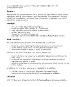 Commercial Teller Sle Resume by Professional Lead Teller Templates To Showcase Your Talent Myperfectresume