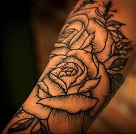 woodcut style rose tattoo skin ink pinterest