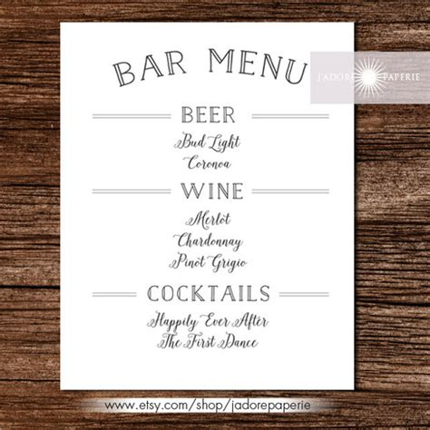 Free Printable Drink Menu Template
