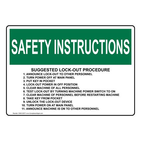 Osha Suggested Lock Out Procedure 1 Announce Sign Osie 25371 Cal Osha Lock Out Tag Out Procedure Template