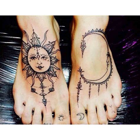 sun foot tattoo 90 wonderful moon tattoos