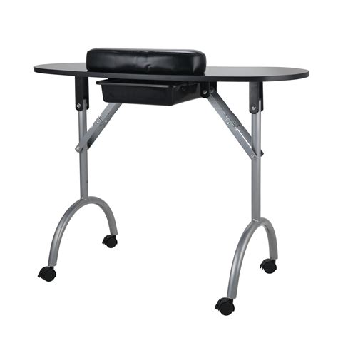 nail bar table station black salon mobile manicure nail table spa portable