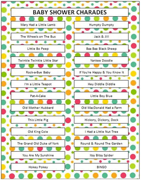 Baby Shower Charades Printable by Nursery Rhyme Charades Munchkins