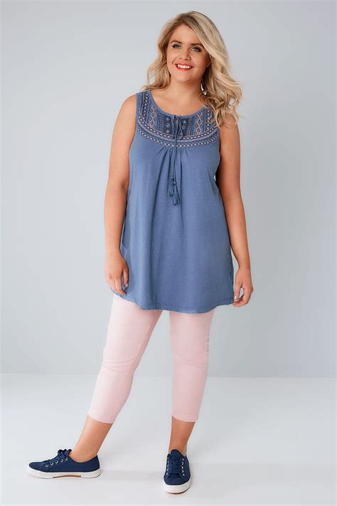 idw079 blue size 16 5 blue embroidered sleeveless longline cotton jersey top