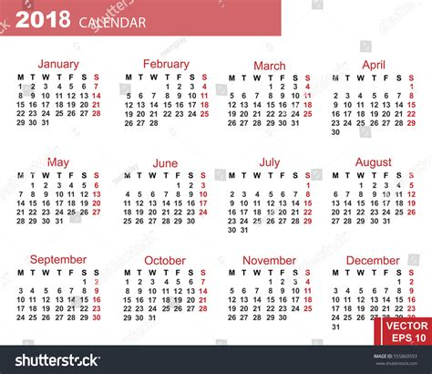 new year 2018 dates calendar new year 2018 date your stock vector 555860593