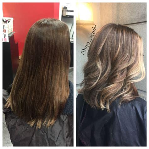 wash hair after balayage highlights before after blonde balayage heavy face framing