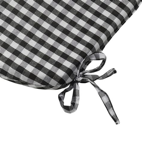 black and white chair pads gingham check tie on seat pad 16 quot x 16 quot kitchen outdoor