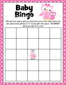 baby bingo template printable pink with owl woodland baby shower