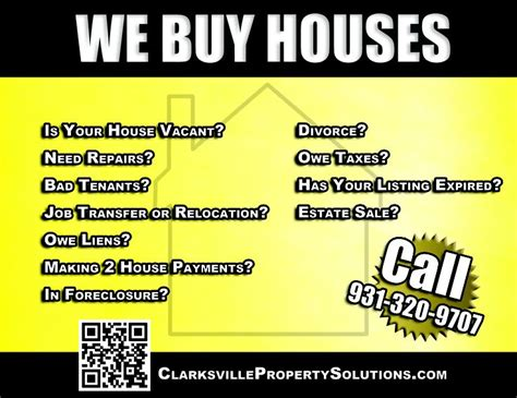 we buy houses advertisement clarksville property
