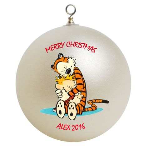 personalized calvin and hobbes christmas ornament gift