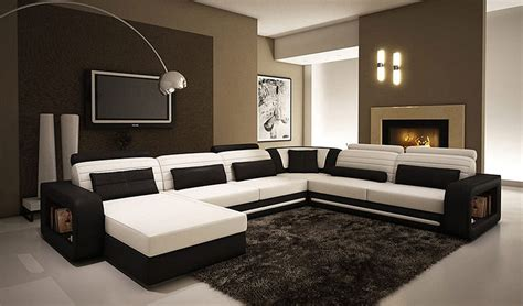 Alina Contemporary Black And White Leather Sectional Sofa Contemporary Sectionals Sofas