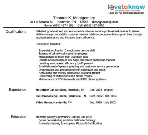 resume objective exles in customer service customer service resume sles lovetoknow