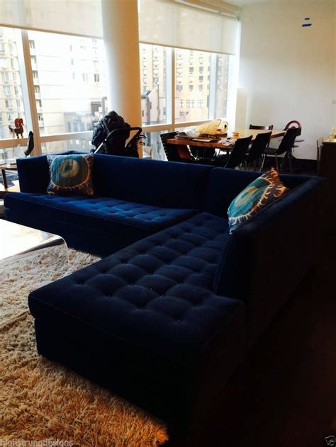 blue tufted sectional sofa 6500 mitchell gold navy blue velvet button tufted quot