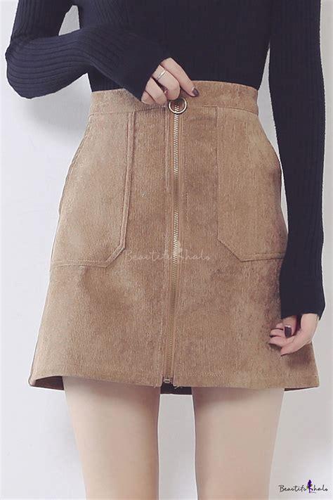 Plain Corduroy Skirt s zipper front plain corduroy mini a line skirt with