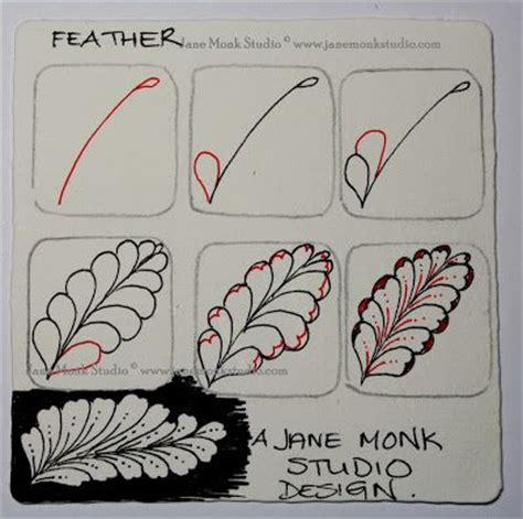 zentangle patterns tangle patterns scrolled feather one tangle step out for quot feather quot by jane monk