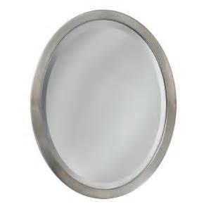 metal oval wall mirror brushed nickel bathroom deco mirror 23 in w x 29 in h metal framed single oval
