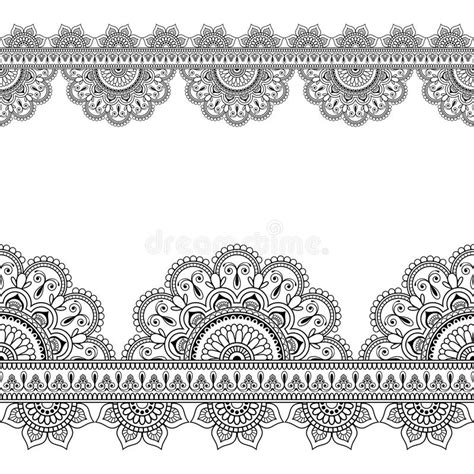 seamless indian mehndi pattern with floral border elements