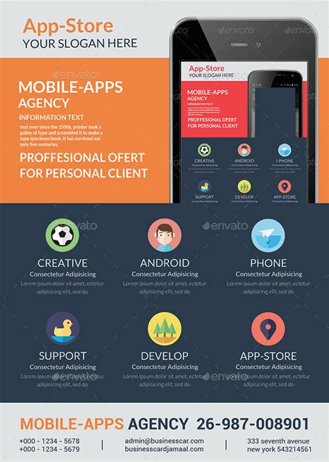 Mobile App Flyer Templates By Afjamaal Graphicriver Free Flyer Design Templates App