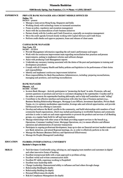 Bank Manager Resume by Bank Manager Resume Sles Velvet