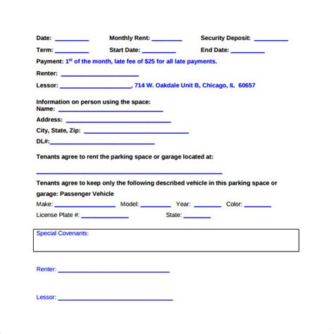 parking lease agreement templates 6 sles exles