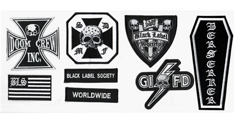 Black Label Society 6 heavy metal band black label society bls patch set for