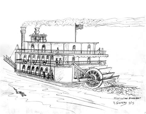 boat in river drawing river boat by vic gomery on deviantart