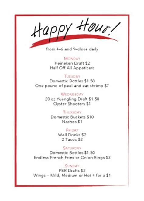 happy hour template design templates menu table menu template 30 food drink