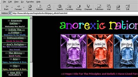 anorexia chat room that there are more than one million pro anorexia web images frompo