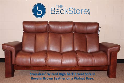 stressless wizard 3 seat high back sofa royalin brown