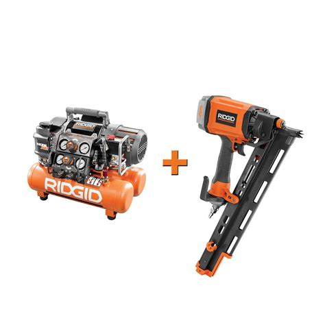 ridgid 5 gal portable electric steel orange air compressor with framing nailer r350rhe of50150