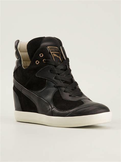 hi top wedge sneakers mcqueen x wedge hitop sneakers in black lyst
