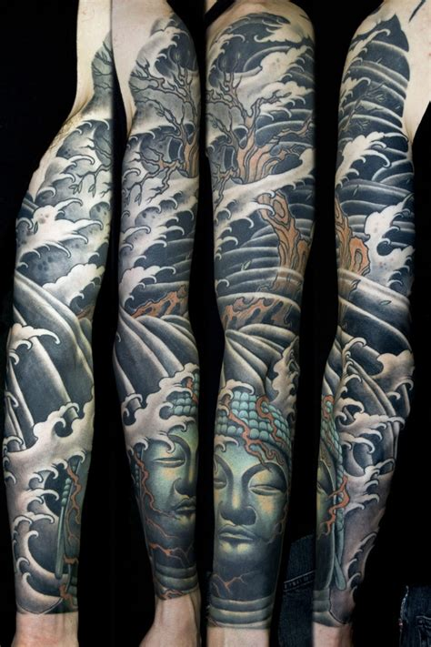 tsunami tattoo japanese religious spiritual sleeve to the