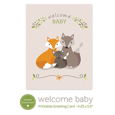 printable card new baby instant download welcome baby printable card fox family