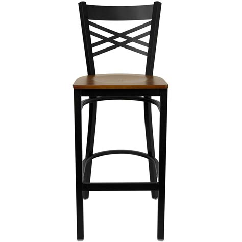 restaurant metal bar stools black x back metal restaurant barstool with cherry wood seat bfdh 6147cwbar