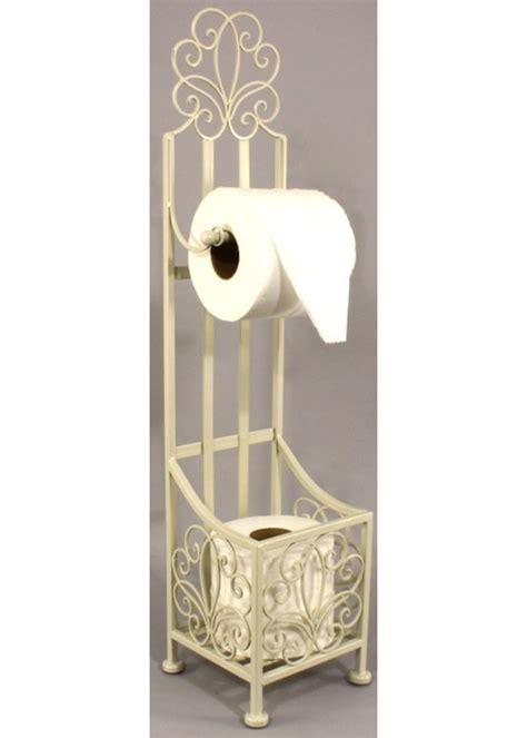 shabby chic free standing cream toilet roll holder