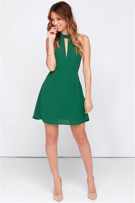 Jv Dress Forest Fit L pretty green dress halter dress sleeveless dress 39 00