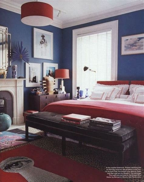 navy and red bedroom navy bedroom swagger via elle magazine us decor color