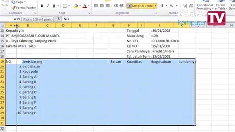 cara membuat invoice pengiriman barang membuat invoice dengan microsoft excel youtube