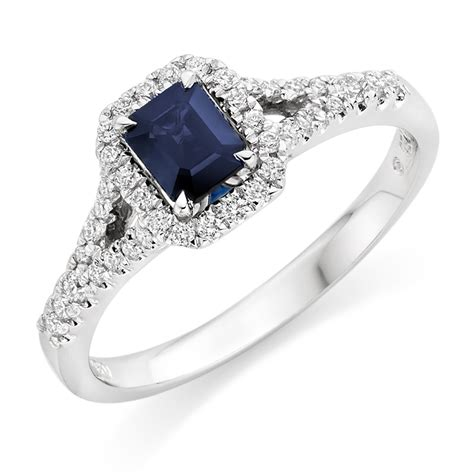 sapphire wedding rings 18ct white gold and sapphire cluster ring