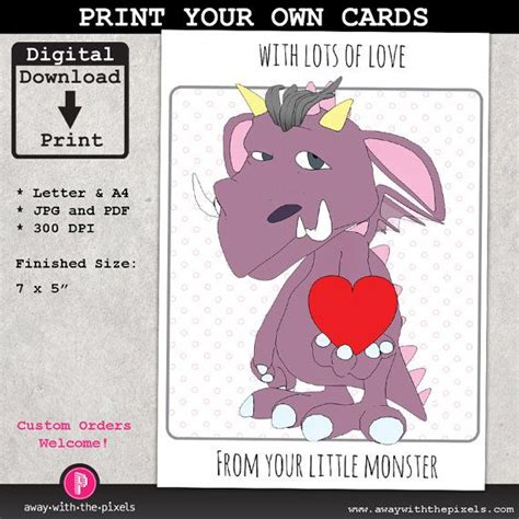 printable birthday cards for your mom from your little monster printable greeting card instant