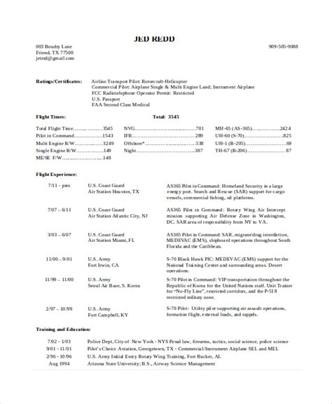 Helicopter Pilot Resume by Pilot Resume Template 5 Free Word Pdf Document